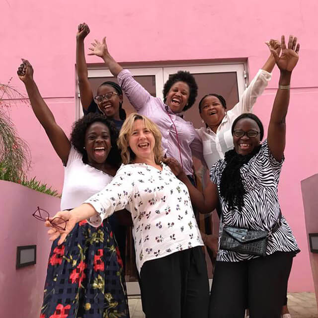 Stella Smith with trainees in Angola